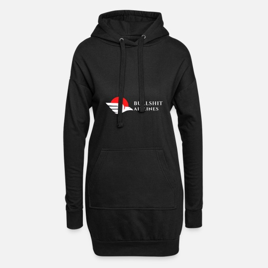 Airline Hoodies & Sweatshirts - Bullshit Airlines white red - Women's Hoodie Dress black