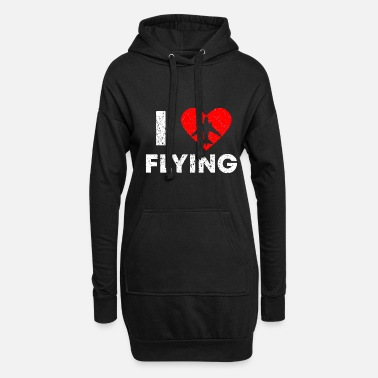 Airline I love Flying Vintage Pilot T Shirt - Women's Hoodie Dress