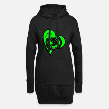 vinyl_heart1 - Frauen Hoodiekleid