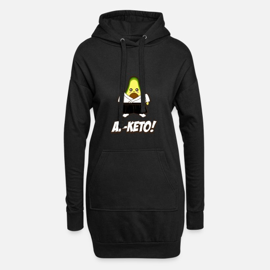 Avocado Hoodies & Sweatshirts - Keto Avocado Diet Ai-Keto Ketogenic Illustration - Women's Hoodie Dress black