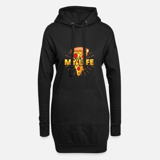 Italian Hoodies & Sweatshirts - My life pizza - Women's Hoodie Dress black
