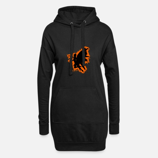 Feather Hoodies & Sweatshirts - Angel wings orange and black outline - Women's Hoodie Dress black