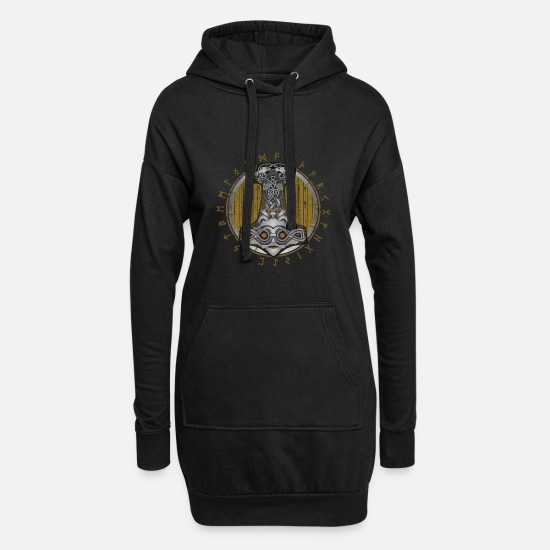 Shield Sweat-shirts - Thor Hammer Mjolnir Shield avec des runes de couleur claire - Robe sweat Femme noir