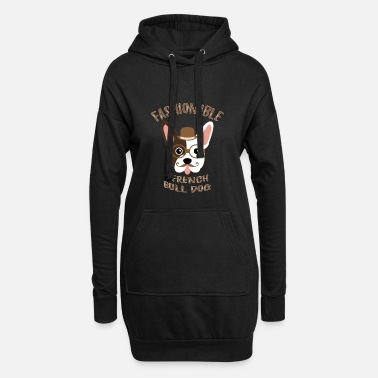 Dog Fashion Bulldog French Dog Fashionable Vintage Hipster - Women's Hoodie Dress