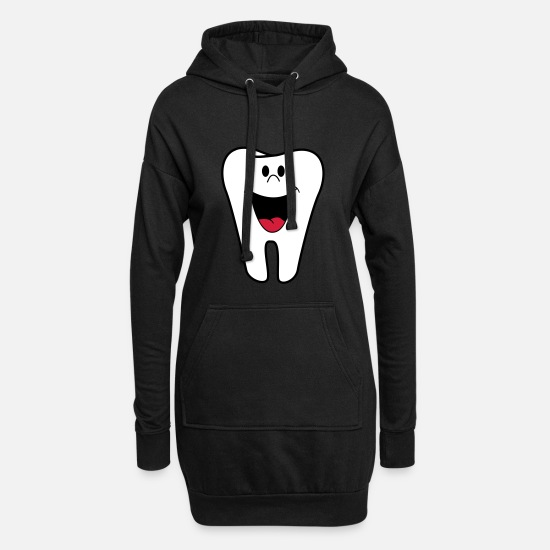 Gift Idea Hoodies & Sweatshirts - tooth - Women's Hoodie Dress black