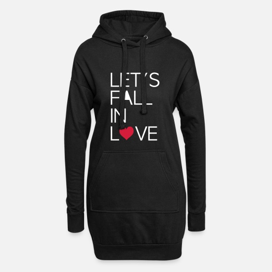 Love Hoodies & Sweatshirts - Declaration of Love Love Falling in love - Women's Hoodie Dress black