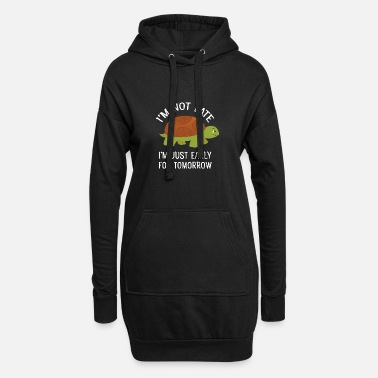 Irony I'm Not Late - Cute Tortoise Turtle - Women's Hoodie Dress