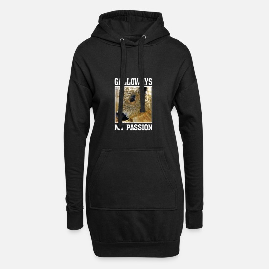 Schottland Pullover & Hoodies - galloway / galloways / schottland / passion - Frauen Hoodiekleid Schwarz