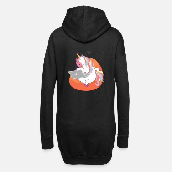Birthday Hoodies & Sweatshirts - Unicorn sleeping with laptop / unicorn - Women's Hoodie Dress black