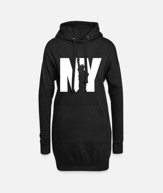 Usa Hoodies & Sweatshirts - NY statue bright design - Women's Hoodie Dress black