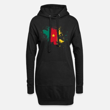 Cameroon Cameroon flag as a splash of color - Women's Hoodie Dress