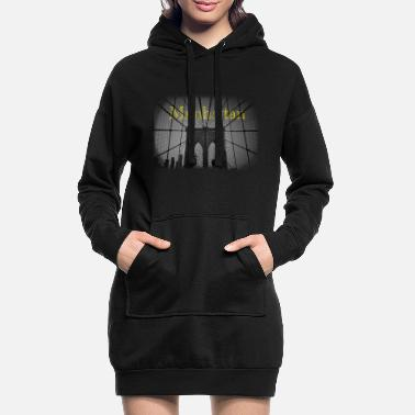 Nyc manhattan new york bridge brooklyn sort og hvid - Hoodie kjole dame