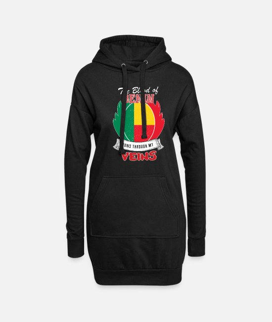 Travel Hoodies & Sweatshirts - benin blood flows through my veins - Women's Hoodie Dress black