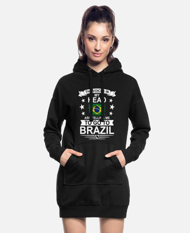 South America Hoodies & Sweatshirts - The voices in my head Brazil flag - Women's Hoodie Dress black