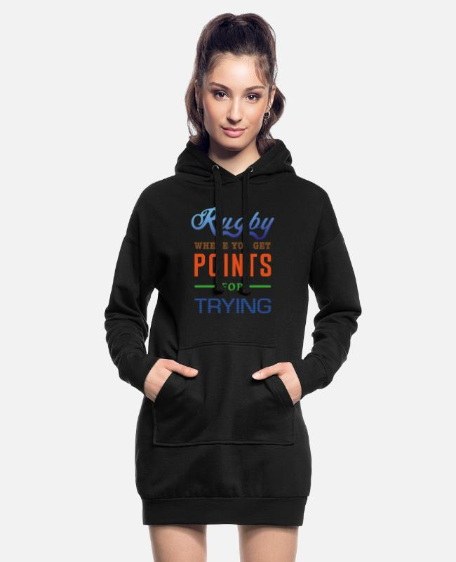 Design Hoodies & Sweatshirts - Rugby, where you get points for trying - Women's Hoodie Dress black