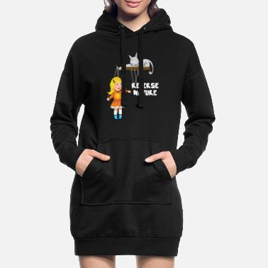 Slave Female Cat plays with a female slave as a puppet - Women's Hoodie Dress