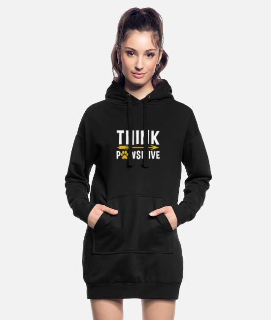 Pregnancy Hoodies & Sweatshirts - Dog dog think positive thinking positive love life - Women's Hoodie Dress black