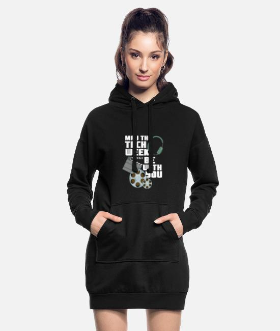 Tech Hoodies & Sweatshirts - May The Tech Week Be With You Funny Gift - Women's Hoodie Dress black