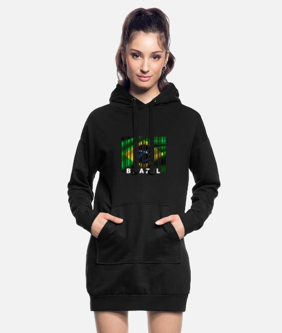 South America Hoodies & Sweatshirts - Brazil Flag Barcode EAN GTIN UPC Code Scan - Women's Hoodie Dress black