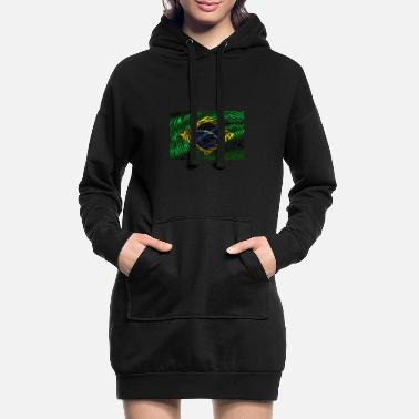 Sau Paulo Brazil flag fingerprint finger trace land - Women's Hoodie Dress