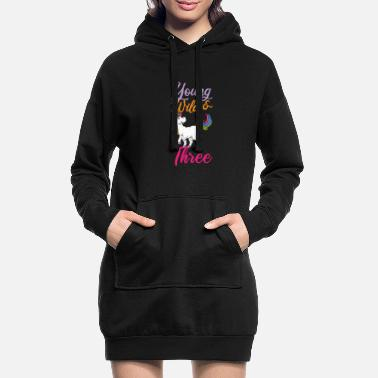 Tampon Licorne Young Wild Threes 3ème anniversaire - Robe sweat Femme
