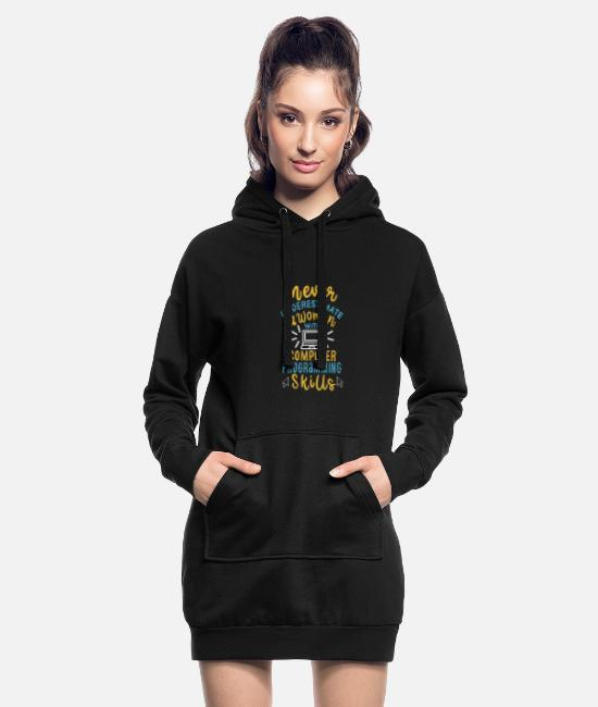 Programmemer Hoodies & Sweatshirts - Never Underestimate A Woman With Computer Program - Women's Hoodie Dress black