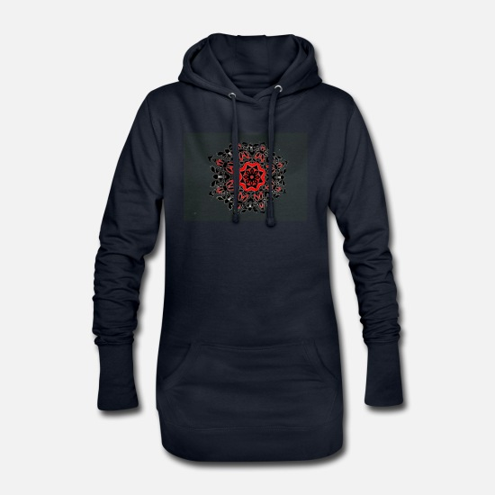 Red Hoodies & Sweatshirts - Pattern abstract black red eye-catcher - Women's Hoodie Dress navy