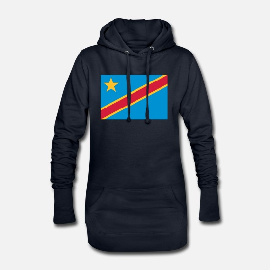 National Team Hoodies & Sweatshirts - Democratic Republic of the Congo Flag - Women's Hoodie Dress navy