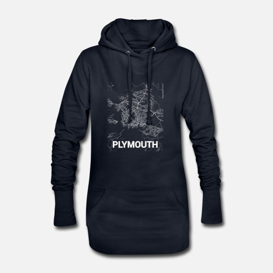 Layout Hoodies & Sweatshirts - Plymouth city map and streets - Women's Hoodie Dress navy