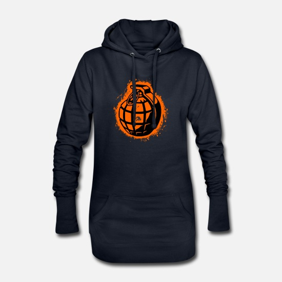 Feather Hoodies & Sweatshirts - Grenade wings orange and black outline - Women's Hoodie Dress navy