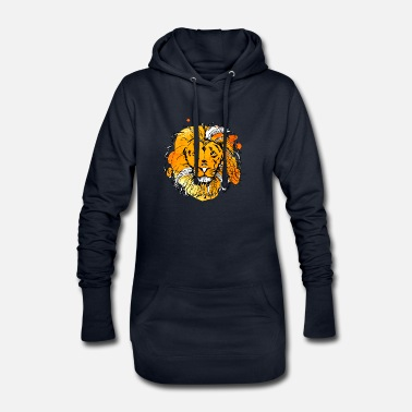 Hand-drawn lion with bright colors - Women's Hoodie Dress