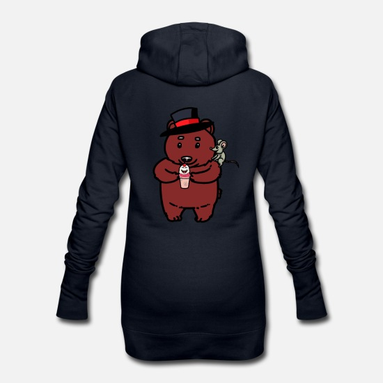 Mouse Hoodies & Sweatshirts - Teddy bear bears mouse ice cream cup hungry - Women's Hoodie Dress navy