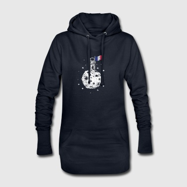 Drapeau de la France sur le don de lune - Sweat-shirt à capuche long