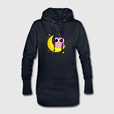 Pink Owl On Moon Cartoon Nocturnal Bird Lover Cool - Hoodie Dress