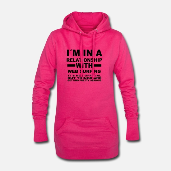 Lieben Pullover & Hoodies - relationship with WEB SURFING - Frauen Hoodiekleid Fuchsia