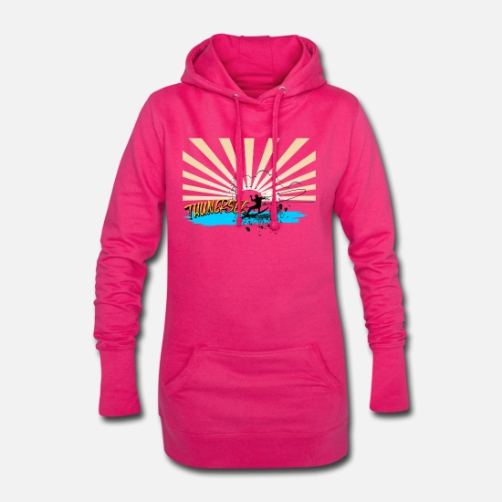Stylish Hoodies & Sweatshirts - Wakboarding on Lake Lakesport in Switzerland - Women's Hoodie Dress fuchsia