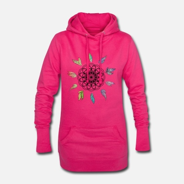 Dream Mandala with rainbow feathers Gift idea - Women's Hoodie Dress