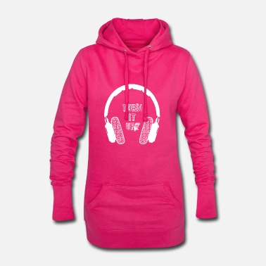 Mp3 Kopfhörer turn it up Geschenk Headphones m Slogan - Frauen Hoodiekleid