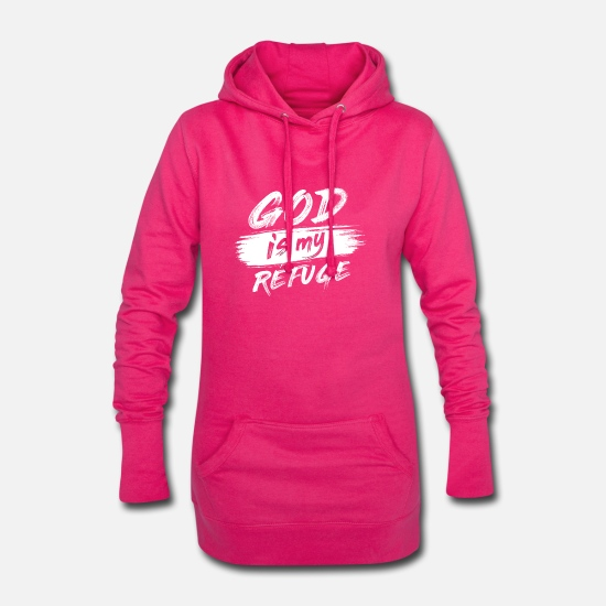 Church Hoodies & Sweatshirts - God is my refuge B - Women's Hoodie Dress fuchsia