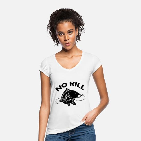 Carpe T-shirts - pêche pecheur no kill poisson - T-shirt vintage Femme blanc