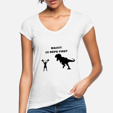 Weight Fitness Lift T-rex Dinosaur Dino funny funny - Women's Vintage T-Shirt
