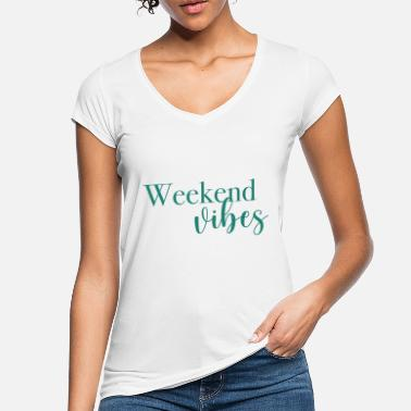 Weekend Weekend vibes, lineart, minimalistic, saying - Women's Vintage T-Shirt