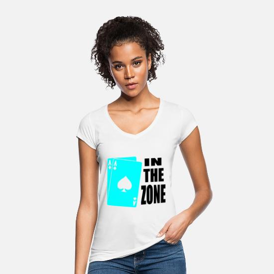 Chipleader Camisetas - poker,aces,in the zone - Camiseta vintage mujer blanco