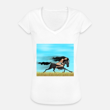 Naked Cartoon Horse with naked lady freedom - Women's Vintage T-Shirt