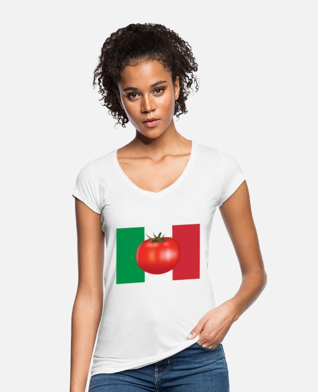 Italienflagge T-Shirts - Italienflagge Tomate - Frauen Vintage T-Shirt Weiß