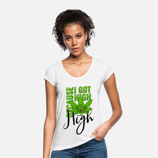 Cannabis T-Shirts - Cannabisblatt Haschkottchen Fly Because I Got High - Frauen Vintage T-Shirt Weiß