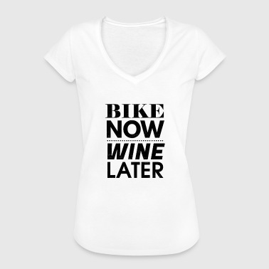 Bike Now Wine Later, Bicycle, Wine, Gift - Women's Vintage T-Shirt