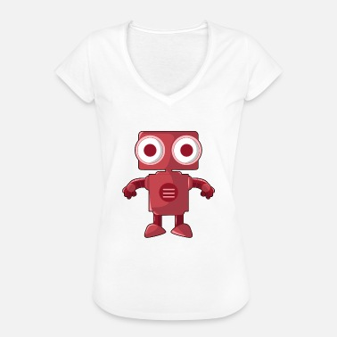 Robot Eye Funny red robot with big eyes - Women's Vintage T-Shirt