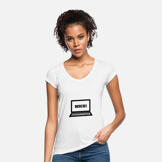 "Gift Idea T-Shirts - Laptop ""nice"" - Women's Vintage T-Shirt white"