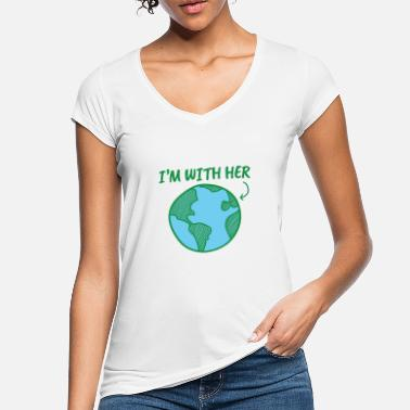 Climate Change Earth Day I'm With Her - Women's Vintage T-Shirt